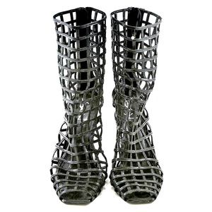 YSL cage boots in black {:size 37:}